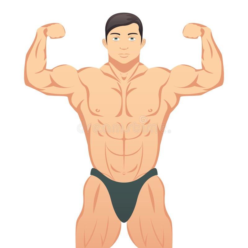 Bodybuilder pokazuje mięśnie ilustracja wektor