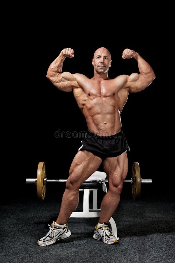 Bodybuilder in gym stock photos