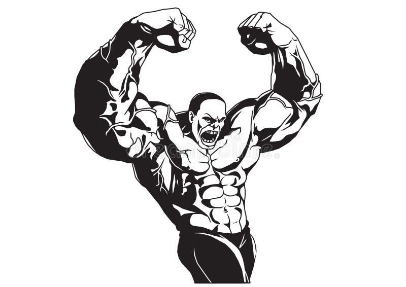 Bodybuilder pozy ilustracji