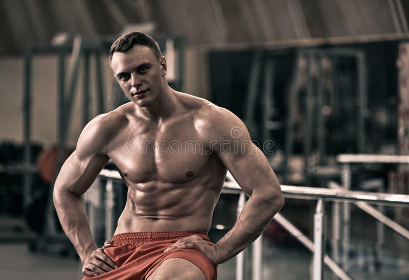 Bodybuilder que levanta na ginástica fotografia de stock royalty free