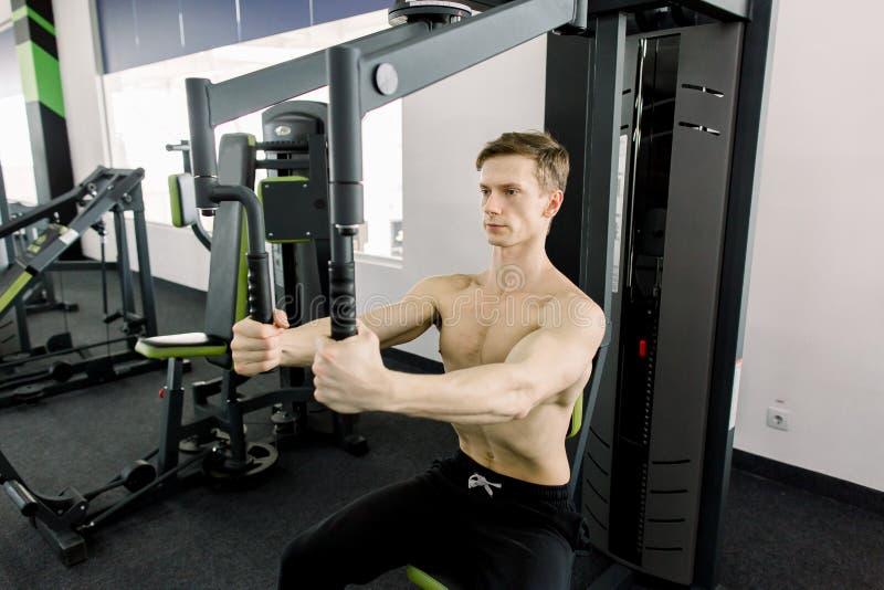 Bodybuilder que presenta en la gimnasia Hombre muscular hermoso que se resuelve dif?cilmente en el gimnasio Entrenamiento sin la  imagen de archivo