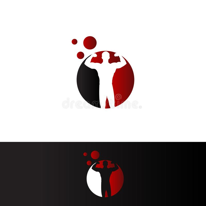 Bodybuilder in red cirle negative space Logo Template. Vector object and Icons for Sport Label, Gym Badge, Fitness Logo Design, Emblem Graphics.Sport Symbol stock illustration