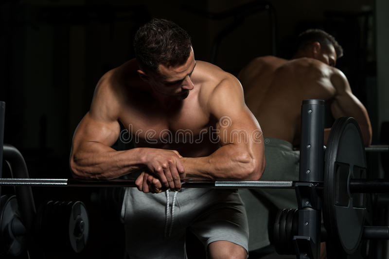 Bodybuilder Resting After Exercising royalty free stock images