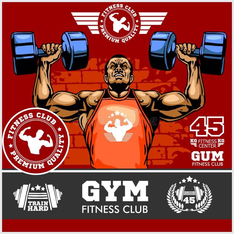 Bodybuilder robi ćwiczeniu dla bicepsów, fachowy bodybuilder majcher royalty ilustracja