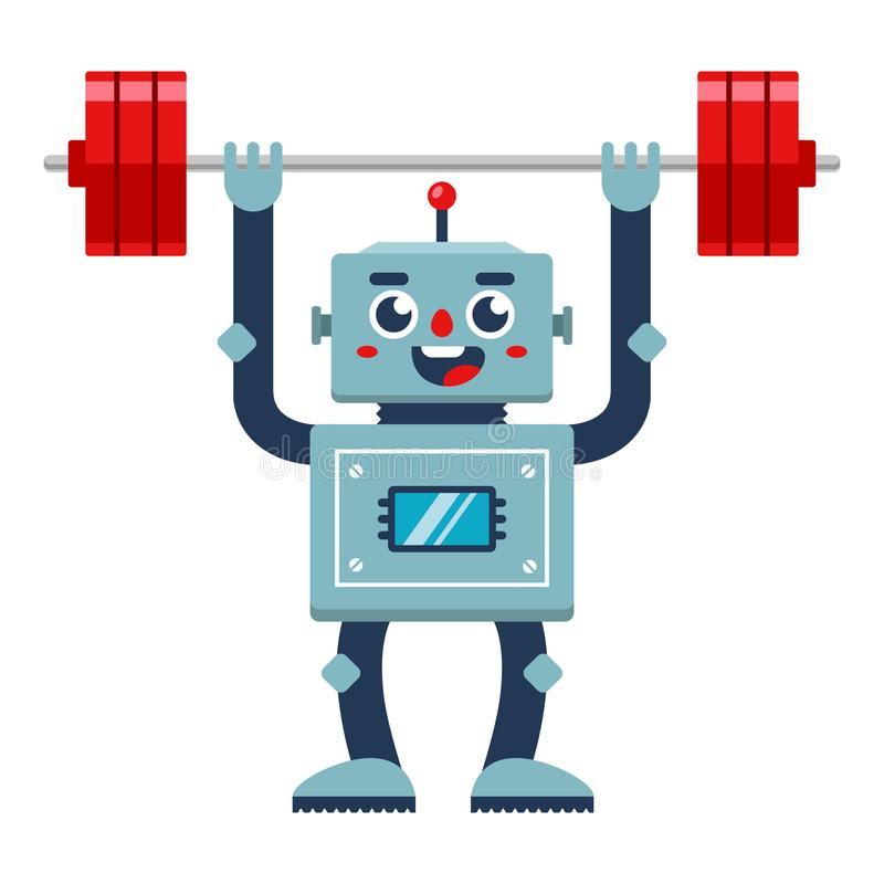 Free Bodybuilder Robot Lifts The Barbell. Stock Photos - 159869893