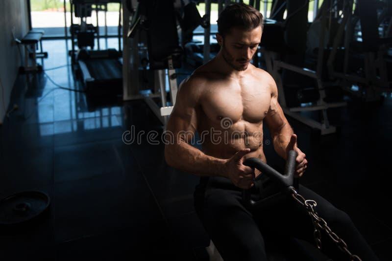 Bodybuilder s'exerçant de retour dans le gymnase image stock