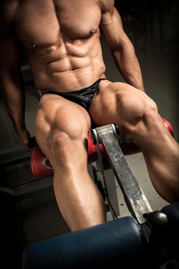Bodybuilder's quads royalty free stock images