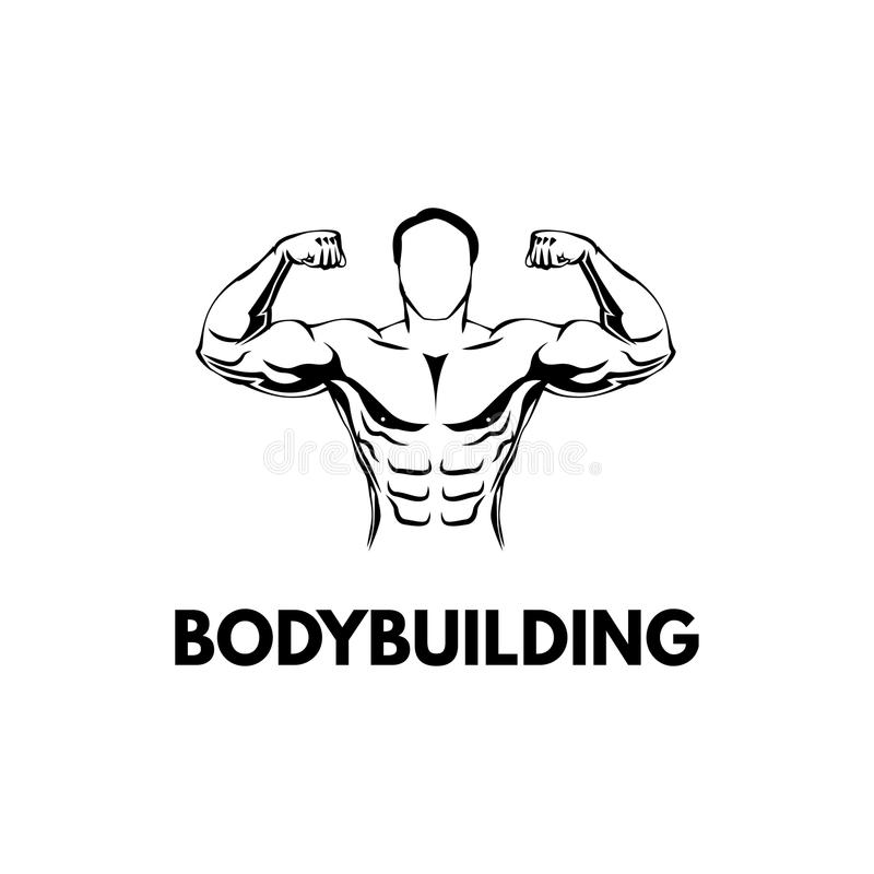 Bodybuilder` s Silhouet Gymnastiekembleem Geschiktheidsembleem Bodybuilder het van letters voorzien sportsman Vector vector illustratie