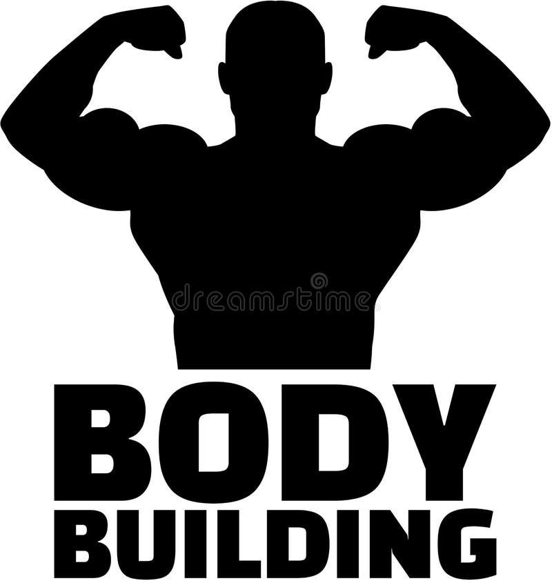 Bodybuilder-Schattenbild mit Wortbodybuilding vektor abbildung