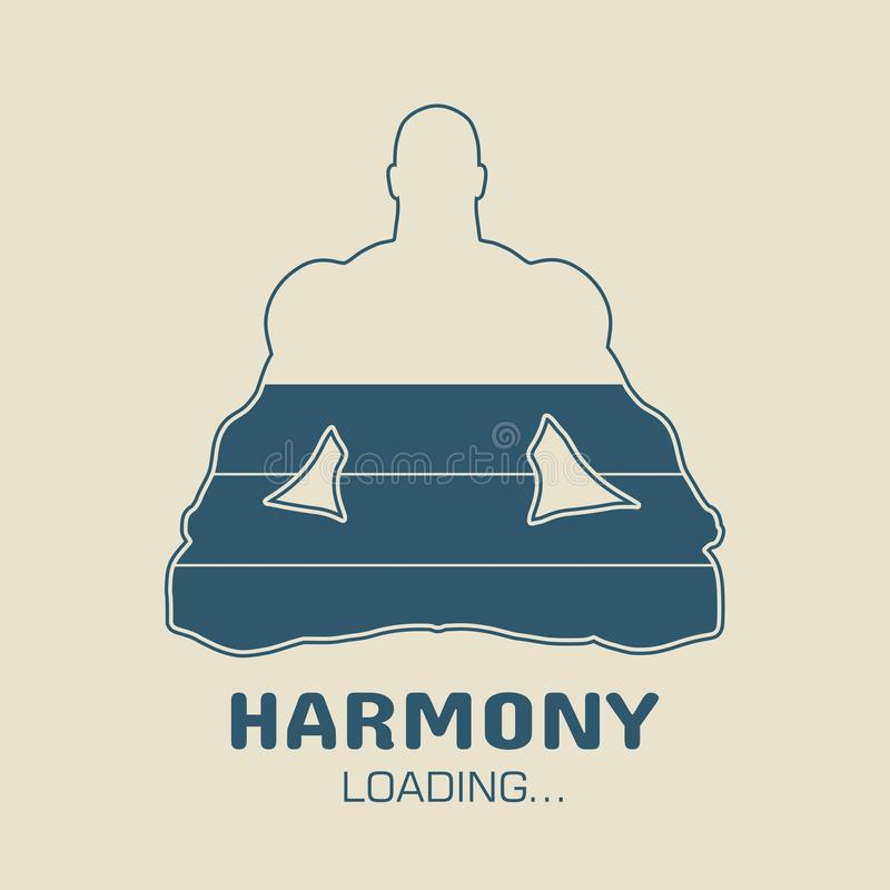 Bodybuilder silhouette image. Harmony loading. Man sit in meditation pose. Healthy lifestyle illustration stock illustration