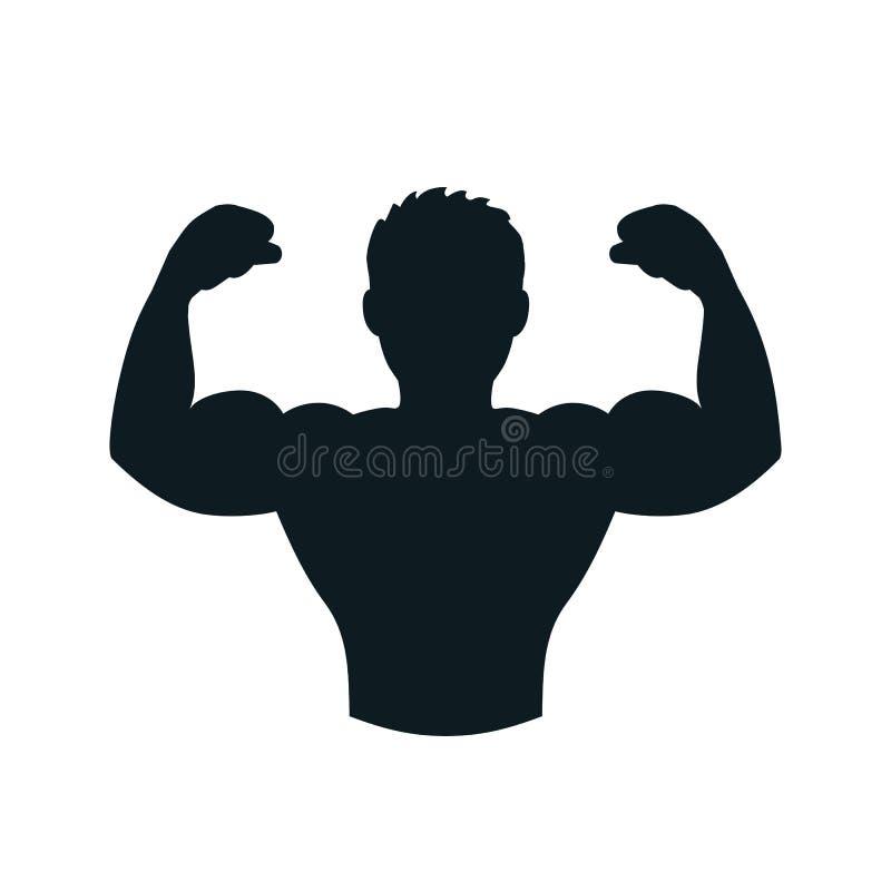 Bodybuilder, spieren, geschiktheid, gymnastiekpictogram – vector illustratie