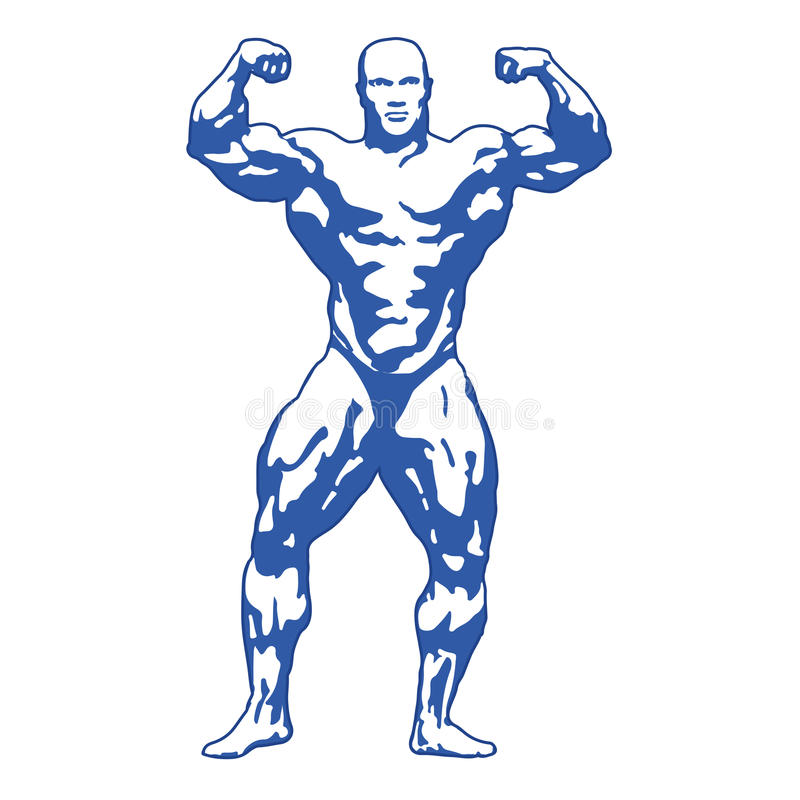 Bodybuilder spiermens stock illustratie