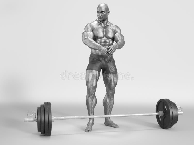 Bodybuilder sportlich stock abbildung