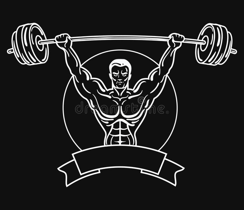 Bodybuilder with a sporty physique. A man with muscular muscles. Black and white athlete logo. Sports emblem. Master of. Mixed martial arts vector illustration