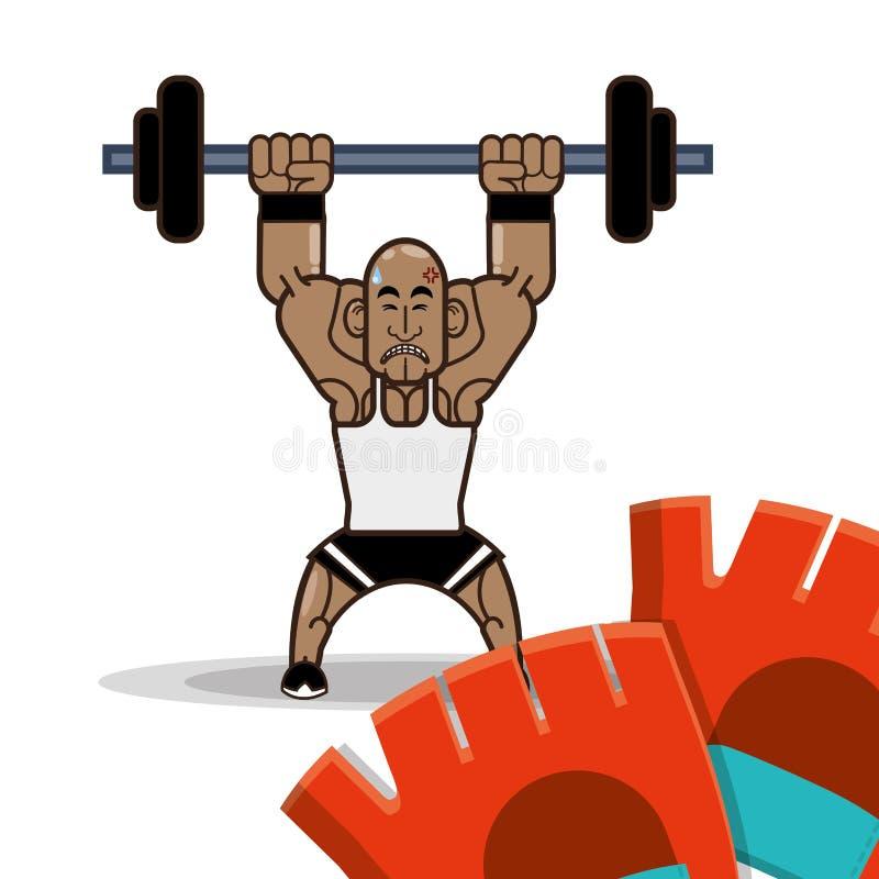 Bodybuilder sprawności fizycznej rękawiczki i dumbbell ilustracji
