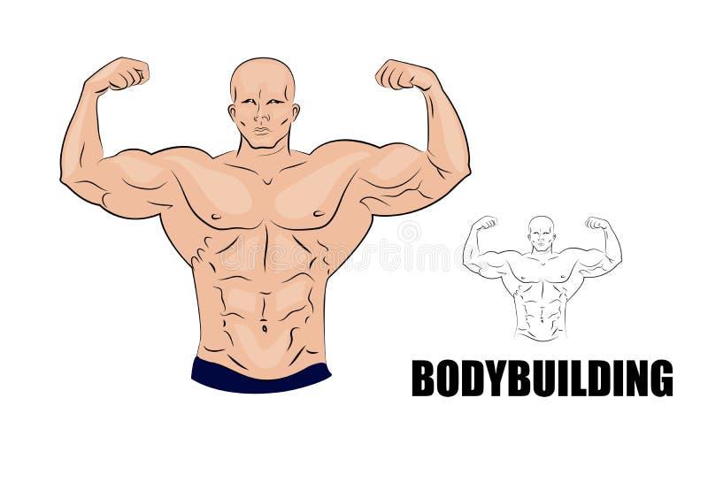 Bodybuilder Sterke spiermens vector illustratie