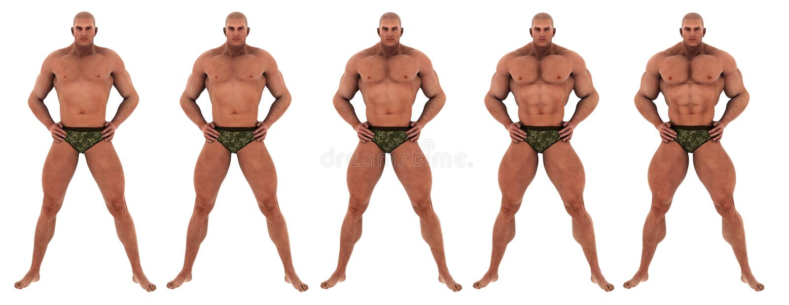 Bodybuilder success transformation. 5 steps with becoming a muscular man, perfect bodybuilder. a successfull body transformation vector illustration