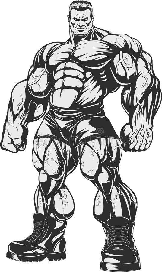 Bodybuilder surowy trener ilustracja wektor
