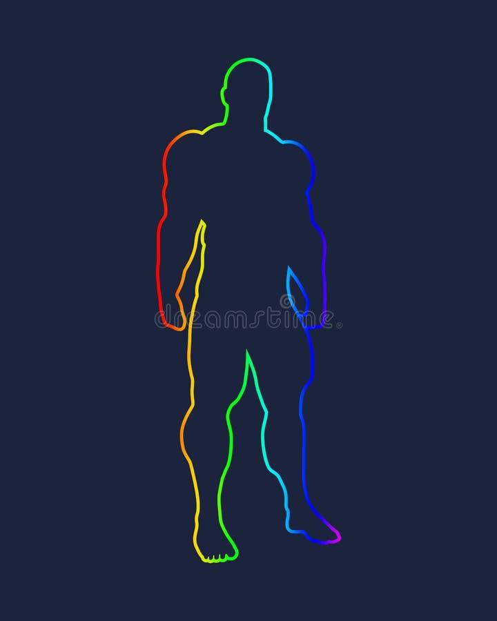 Bodybuilder sylwetki wizerunek ilustracji