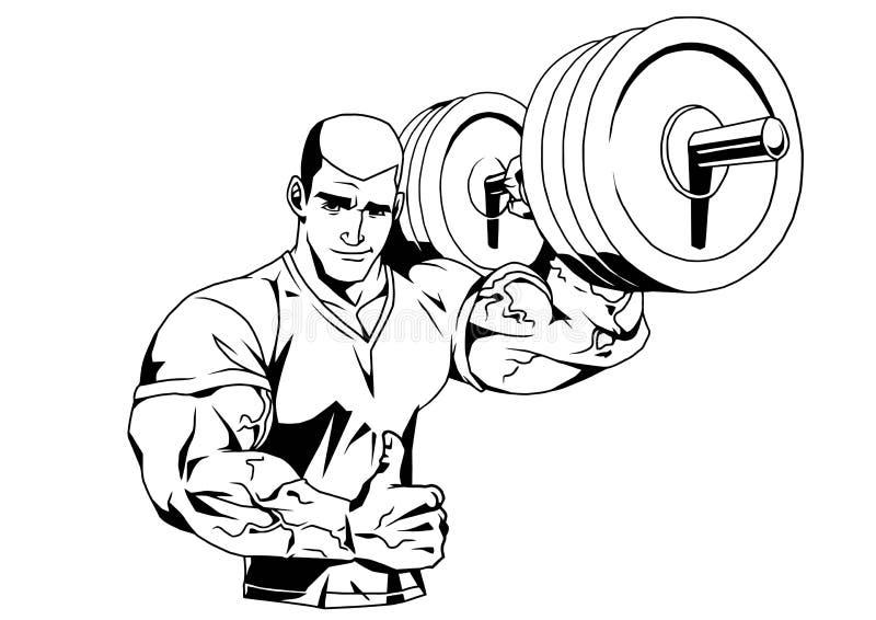 Bodybuilder in t-shirt en barbell stock illustratie