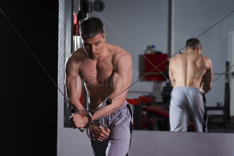 Bodybuilder trening na trenerze w gym, perfect mięśniowy męski ciało zdjęcia stock