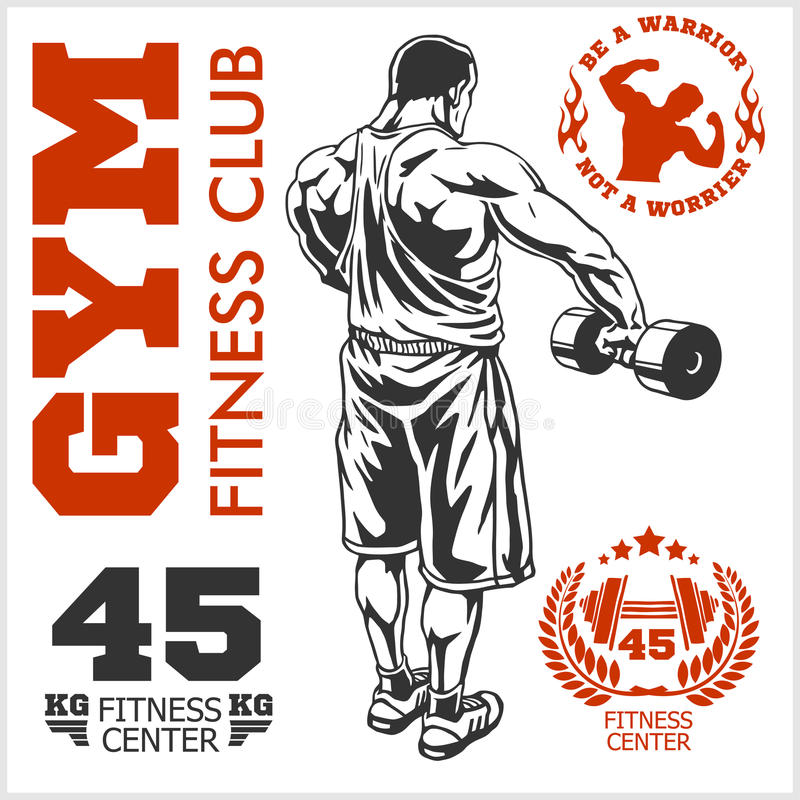 Bodybuilder-und Bodybuilding-Eignungslogoembleme Sports Ikonen Auf Weiß vektor abbildung