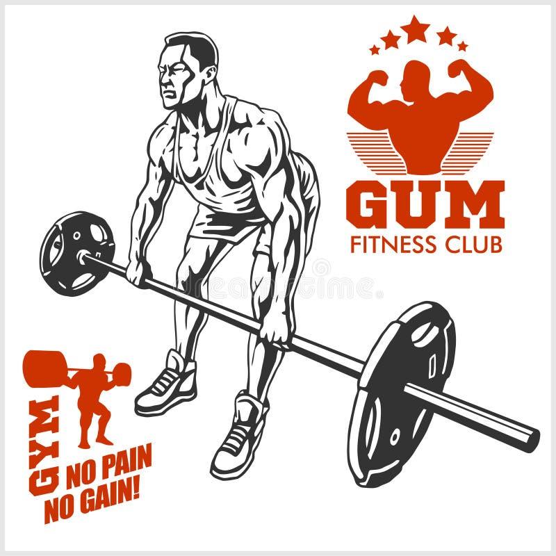 Bodybuilder-und Bodybuilding-Eignungslogoembleme Sports Ikonen Auf Weiß stock abbildung