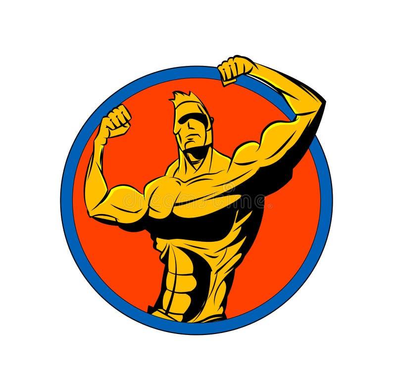 Bodybuilder van de voor dubbele bicepsen stock illustratie
