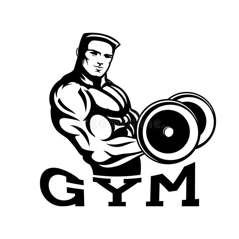 Bodybuilder w gym ilustracji