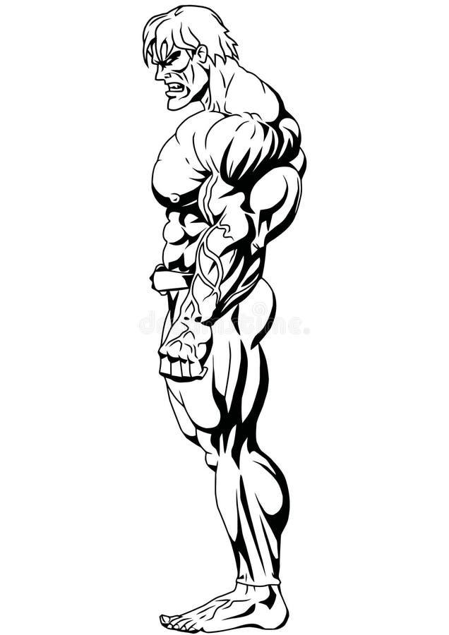 Bodybuilder widok ilustracja wektor