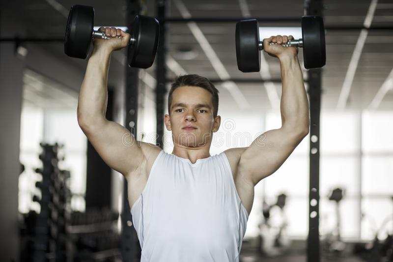 Bodybuilder working out with dumbbell weights at the gym. Man bodybuilder doing exercises with dumbbell. Fitness muscular body royalty free stock images