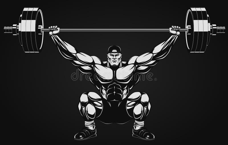 Bodybuilder z barbell royalty ilustracja