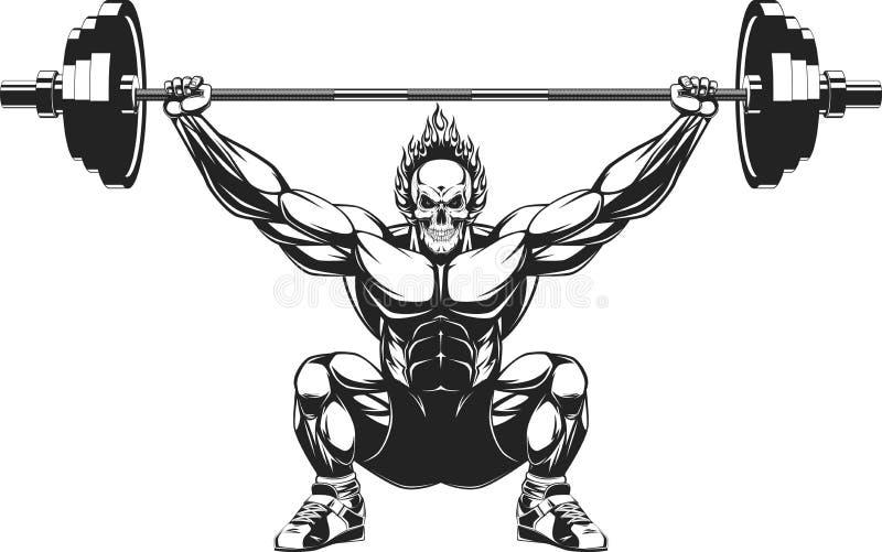 Bodybuilder z barbell ilustracja wektor