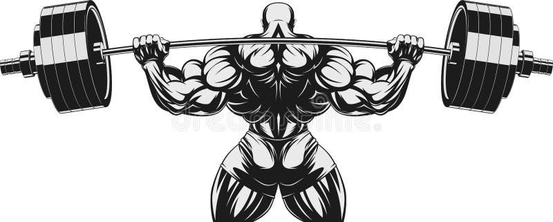 Bodybuilder z barbell n ilustracja wektor