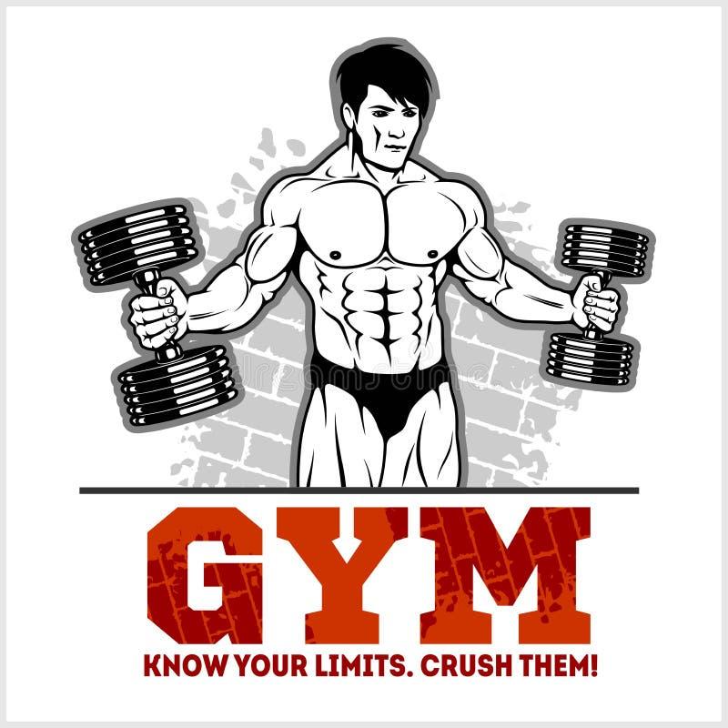 Bodybuilder z dumbbells - monochromatyczna wektorowa ilustracja ilustracja wektor