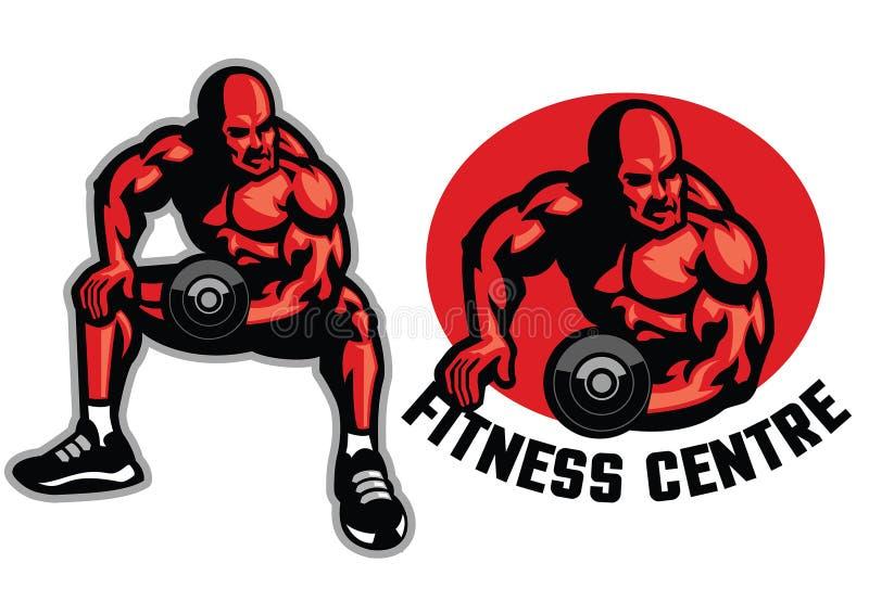 Bodybuilder z dumbell ilustracji