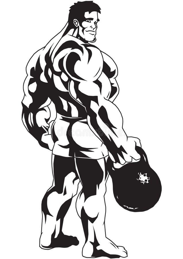 Bodybuilder z kettlebell ilustracji