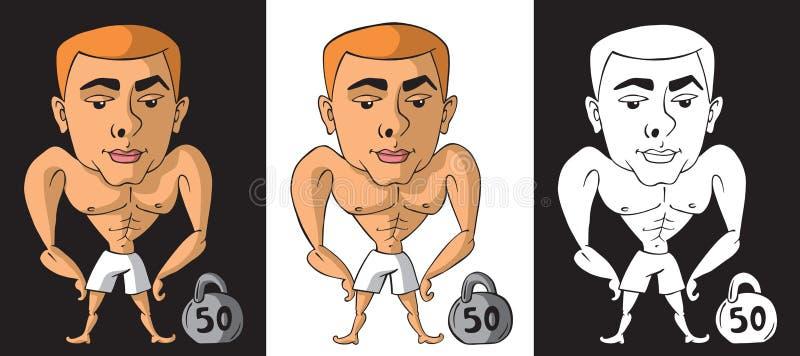 Bodybuilder z kettlebell na czarny i biały ilustracja wektor