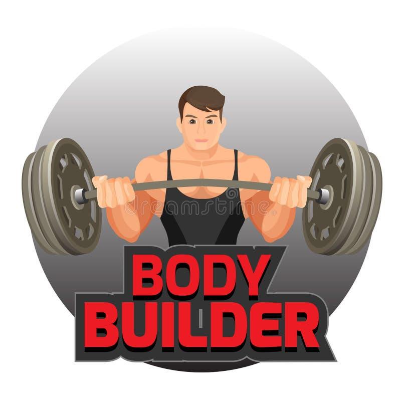 Bodybuilderaffiche met de sterke mens die zware domoor vectorillustratie houden vector illustratie