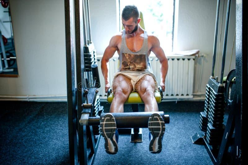 Bodybuilderarbeitsbeine an der Turnhalle, Eignungskonzept stockfoto