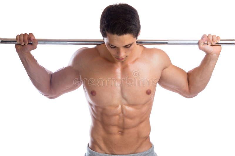 Bodybuilderbodybuilding mischt starken muskulösen Mann der Barbell-ABS mit lizenzfreie stockbilder
