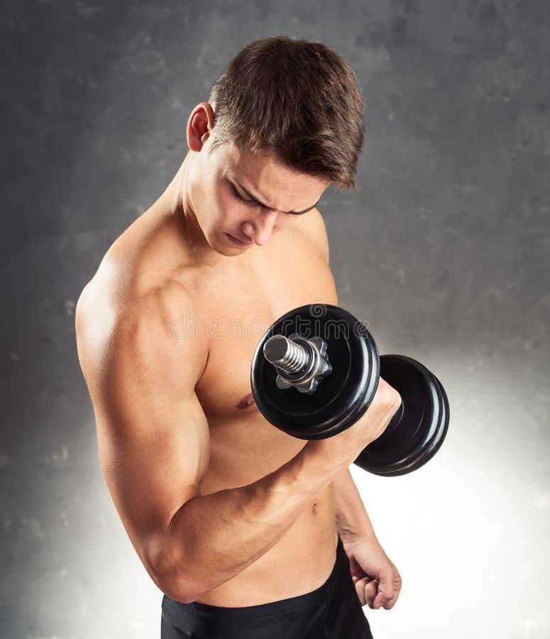 Bodybuildermann, der mit Dummkopf trainiert stockbild