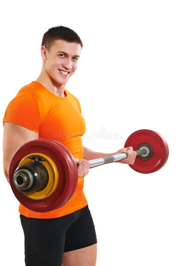 Bodybuildermens die de oefeningen van de bicepsenspier doen royalty-vrije stock afbeelding