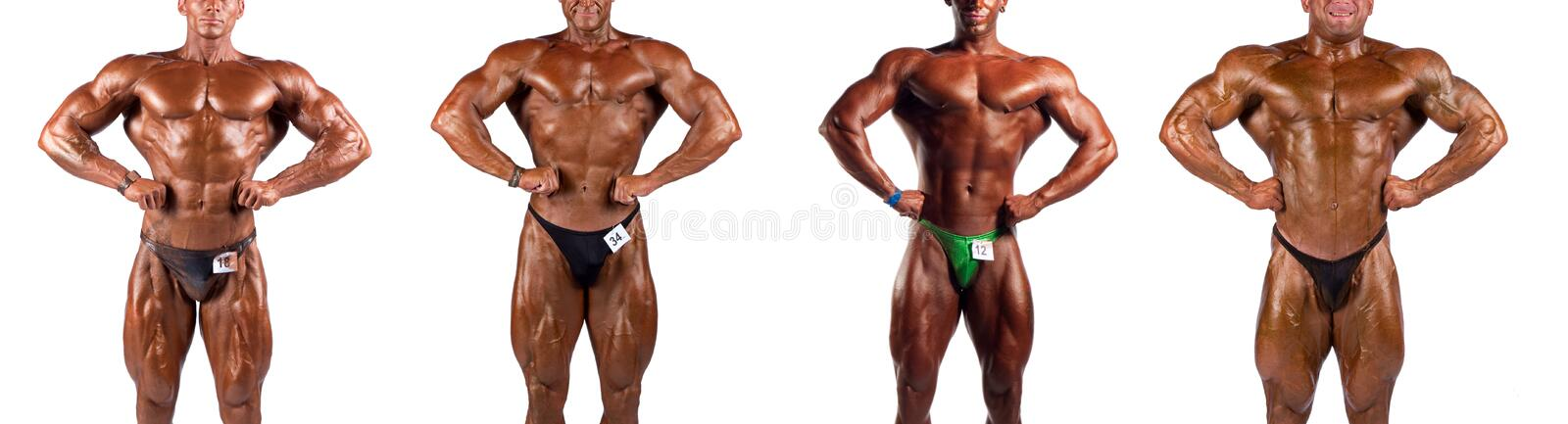 Bodybuilders flexing stock photos