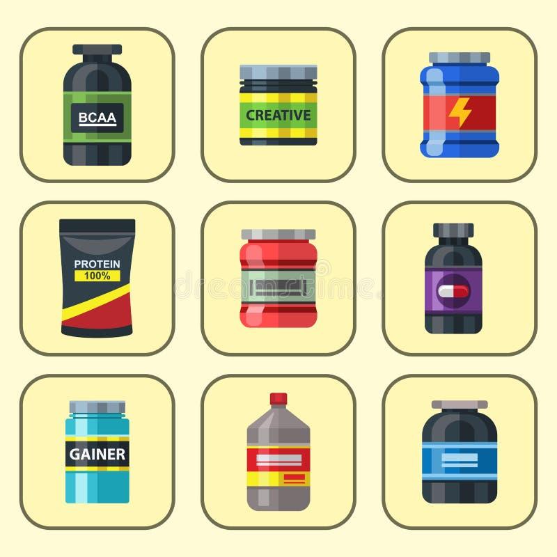 Bodybuilders gym atlety sporta karmowej diety symboli/lów sprawności fizycznej odżywiania proteiny proszka napoju wektoru ilustra royalty ilustracja