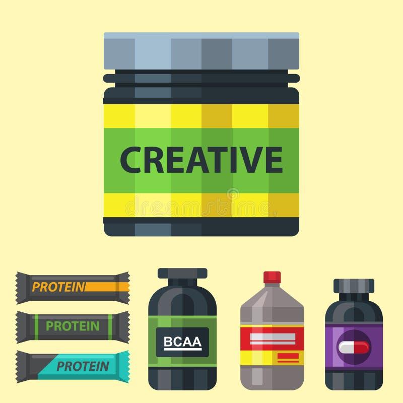 Bodybuilders gym atlety sporta karmowej diety symboli/lów sprawności fizycznej odżywiania proteiny proszka napoju wektoru ilustra ilustracji