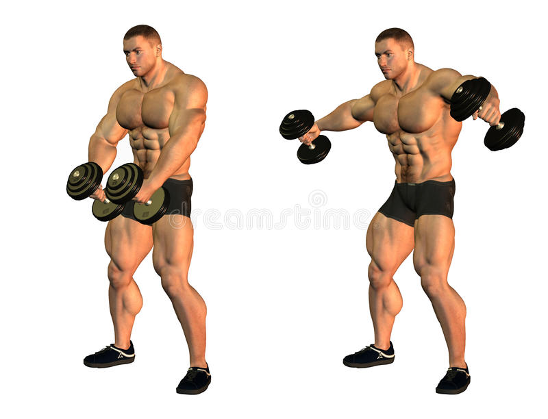 Bodybuilders With Weights Royalty Free Stock Images