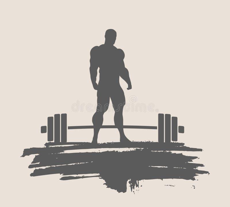 Bodybuilderschattenbildaufstellung vektor abbildung