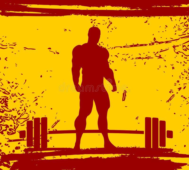 Bodybuilderschattenbildaufstellung lizenzfreie abbildung
