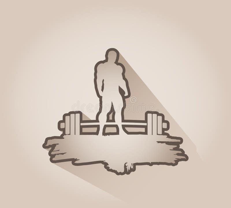 Bodybuilderschattenbildaufstellung stock abbildung